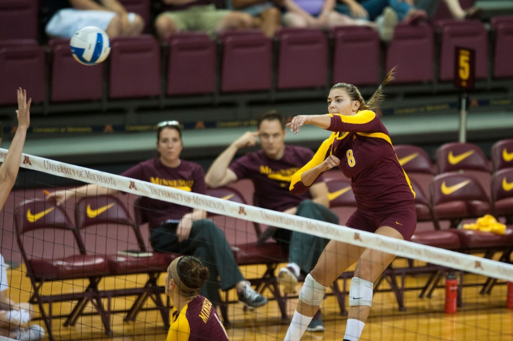 Minnesota outside hitter Katherine Harms spikes against Miami Ohio on Sept. 1 at the Sports Pavilion.