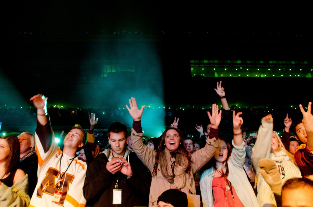 Fans watch B.o.B. perform during the homecoming concert on Oct. 12, 2012 at TCF Bank Stadium.