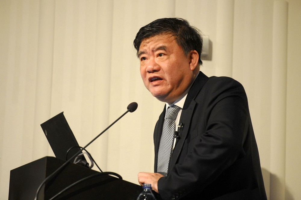 China Minister of Health Dr. Chen Zhu speaks about his role in the development of public health policy in China on Monday at Mayo Memorial Auditorium.