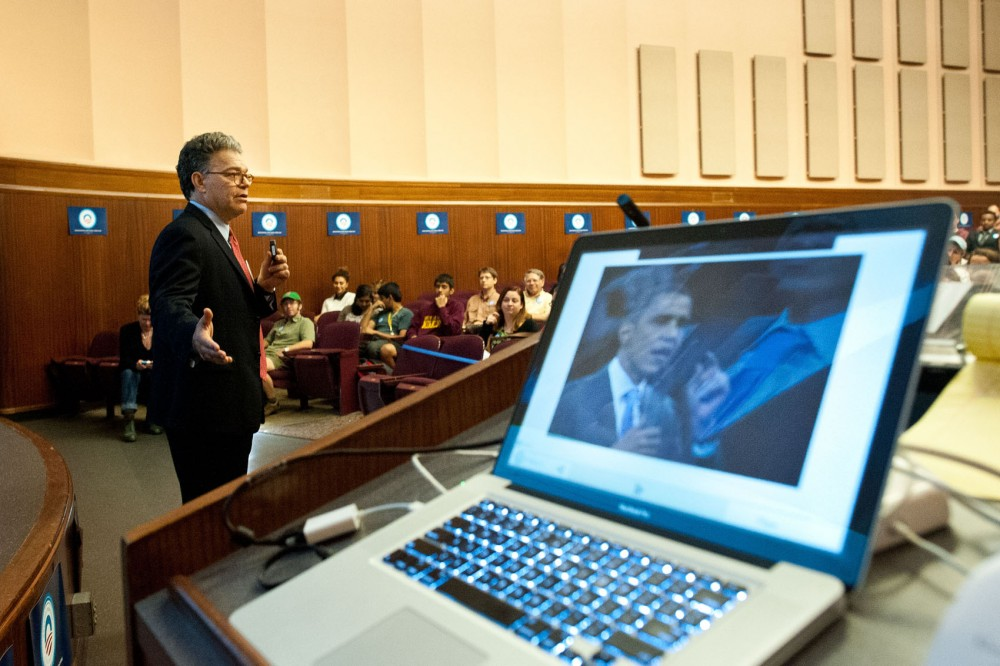 Sen. Al Franken, D-Minn., speaks Wednesday at a presidential debate watch party.  Students for Obama hosted the party at the Bell Museum of Natural History.