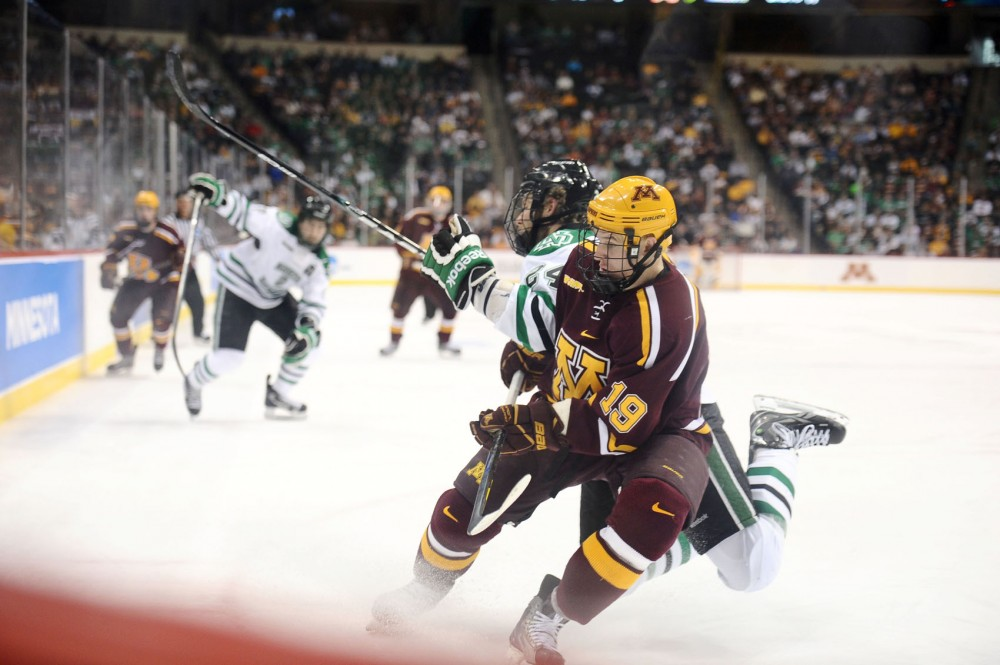 Minnesota forward Erik Haula plays during the NCAA West regional final against North Dakota State on March 25 at the Xcel Energy Center.