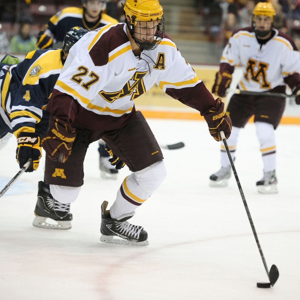 Minnesota forward Nick Bjugstad corrals the puck during a game against Lethbridge last Saturday at Mariucci Arena.