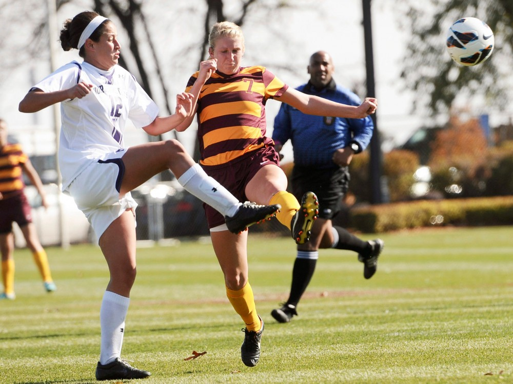 Minnesota midfielder Allie Phillips kicks the ball away form Northwestern on Oct. 14 at Elizabeth Lyle Robbie Stadium.