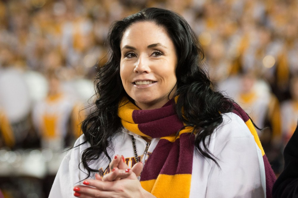 The M Club Hall of Fame recognized recent inductee Lindsey Berg during a football game against Syracuse on Sept. 22 at TCF Bank Stadium.