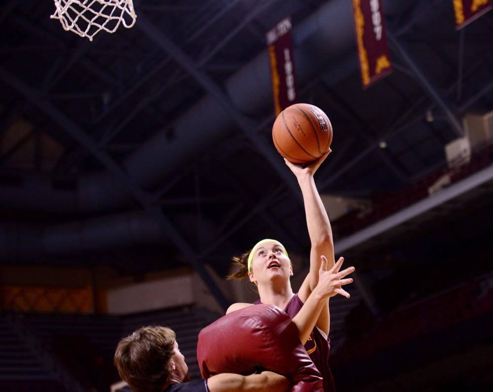 Minnesota redshirt freshman Kayla Hirt makes a layup during a practice Tuesday at Williams Arena.