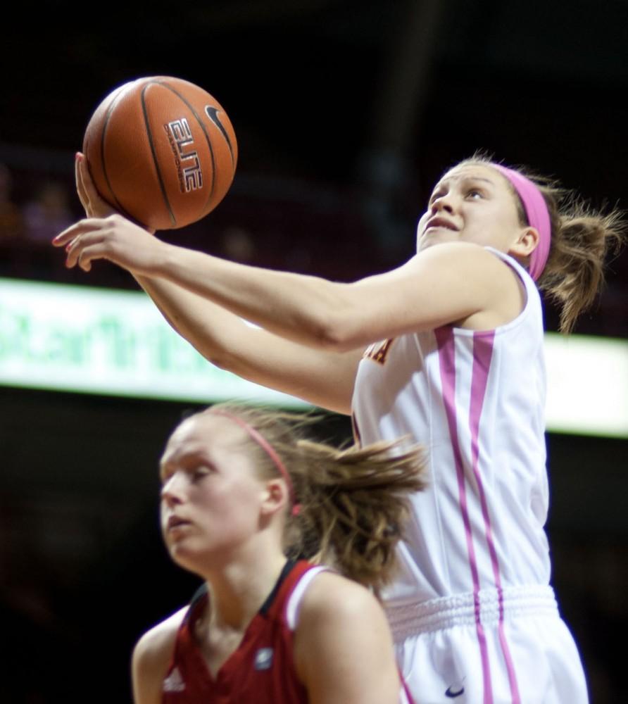 Minnesota guard Rachel Banham plays against Nebraska on Feb. 13 at Williams Arena.