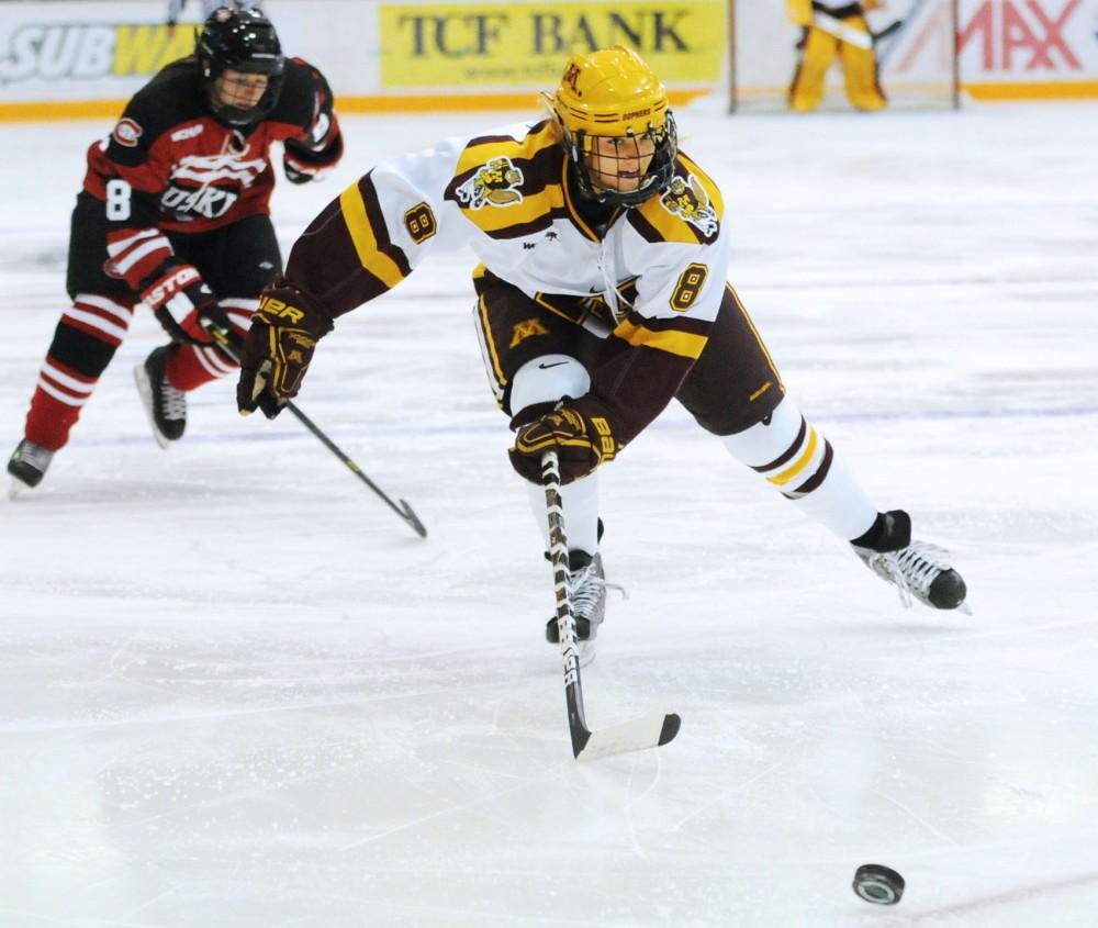 Minnesota forward Amanda Kessel drives toward the St. Cloud State goal Oct. 6 at Ridder Arena.
