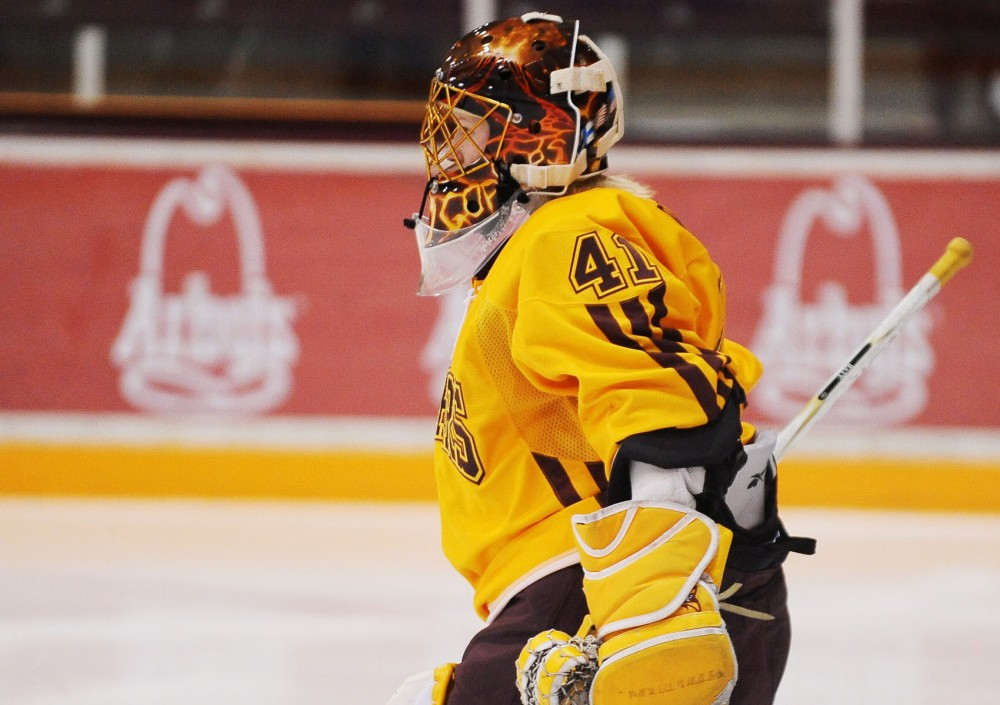 Goalie Noora watches the action down-rink during a game against St. Cloud State on Feb. 5, 2012 at Ridder Arena.