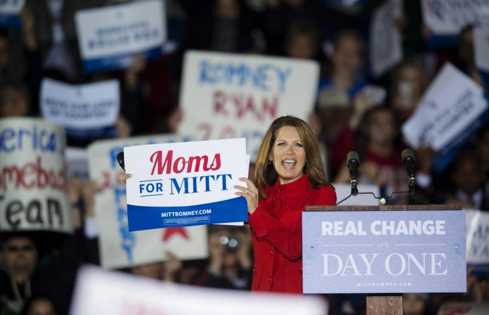Republican Michele Bachmann speaks at a rally supporting Mitt Romney for President on Sunday, Nov. 4, 2012,  at the Sun Country Airlines hanger at the Minneapolis/St. Paul International Airport.