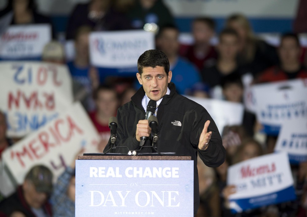Vice presidential candidate Paul Ryan speaks at a rally Sunday, Nov. 4, 2012,  at the Sun Country Airlines hanger at the Minneapolis/St. Paul International Airport.