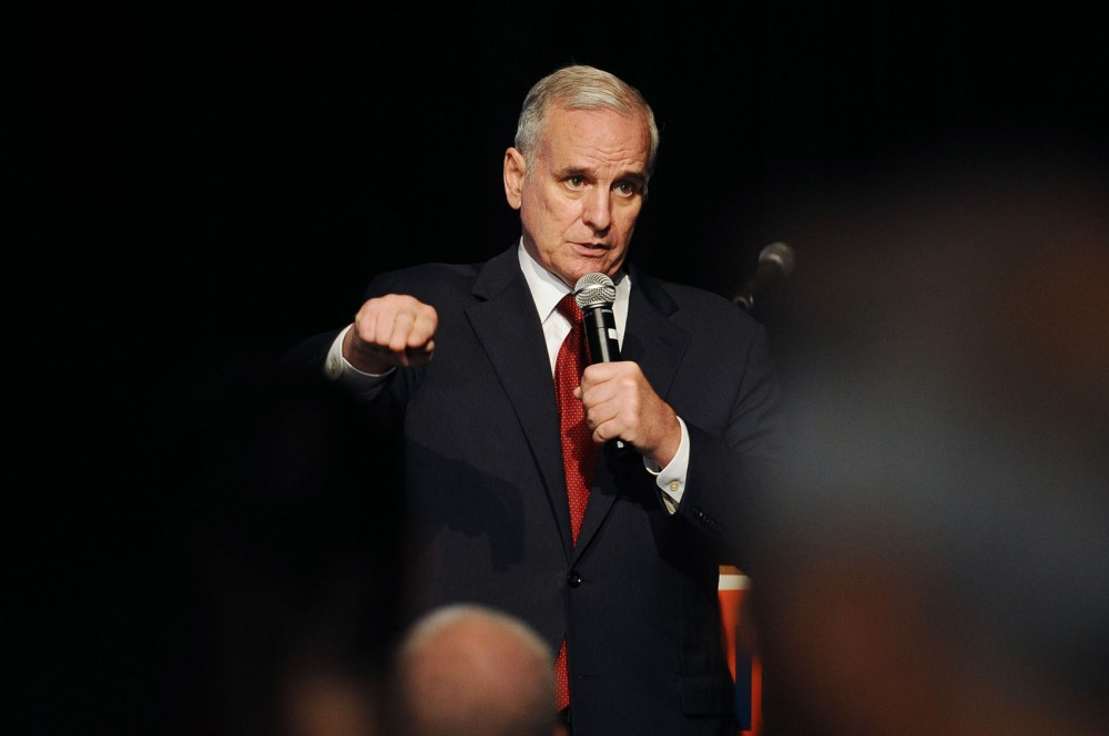 Gov. Mark Dayton thanks marriage amendment opponents for their support at the Minnesotans United for All Families election night party Tuesday night in St. Paul.