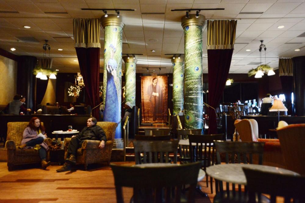 Oscar Wilde himself overlooks Wilde Roast Cafe on Southeast Main Street in Minneapolis.