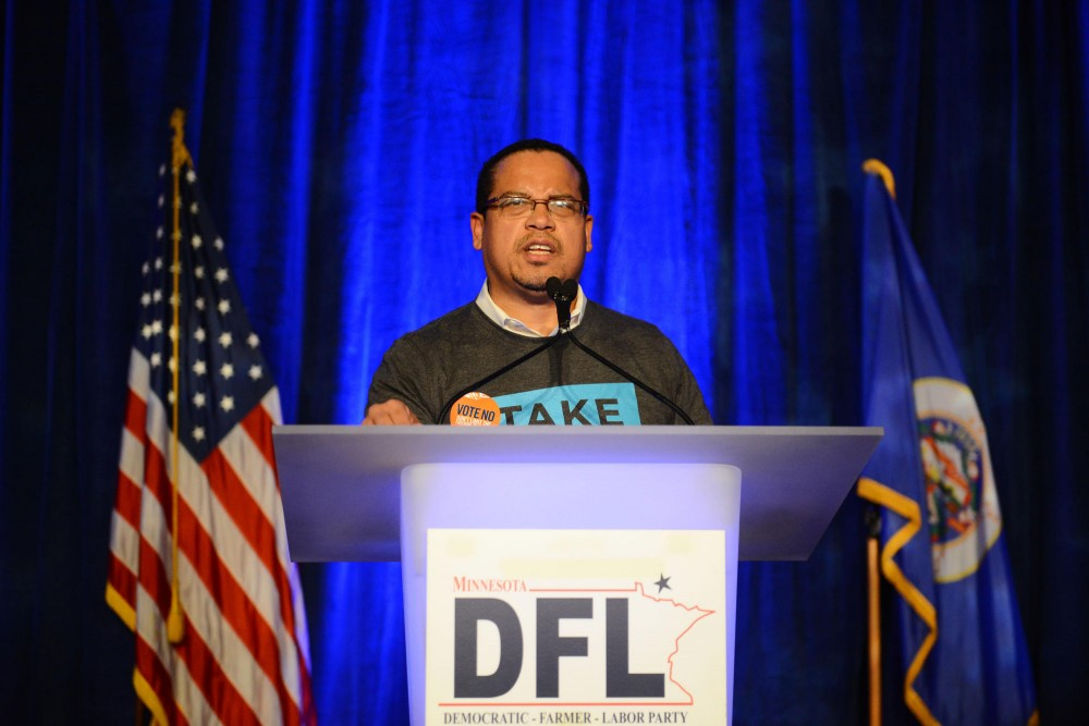 Rep. Keith Ellison speaks to the crowd at the DFL Party at Crown Plaza Riverfront in St. Paul, Wednesday evening.