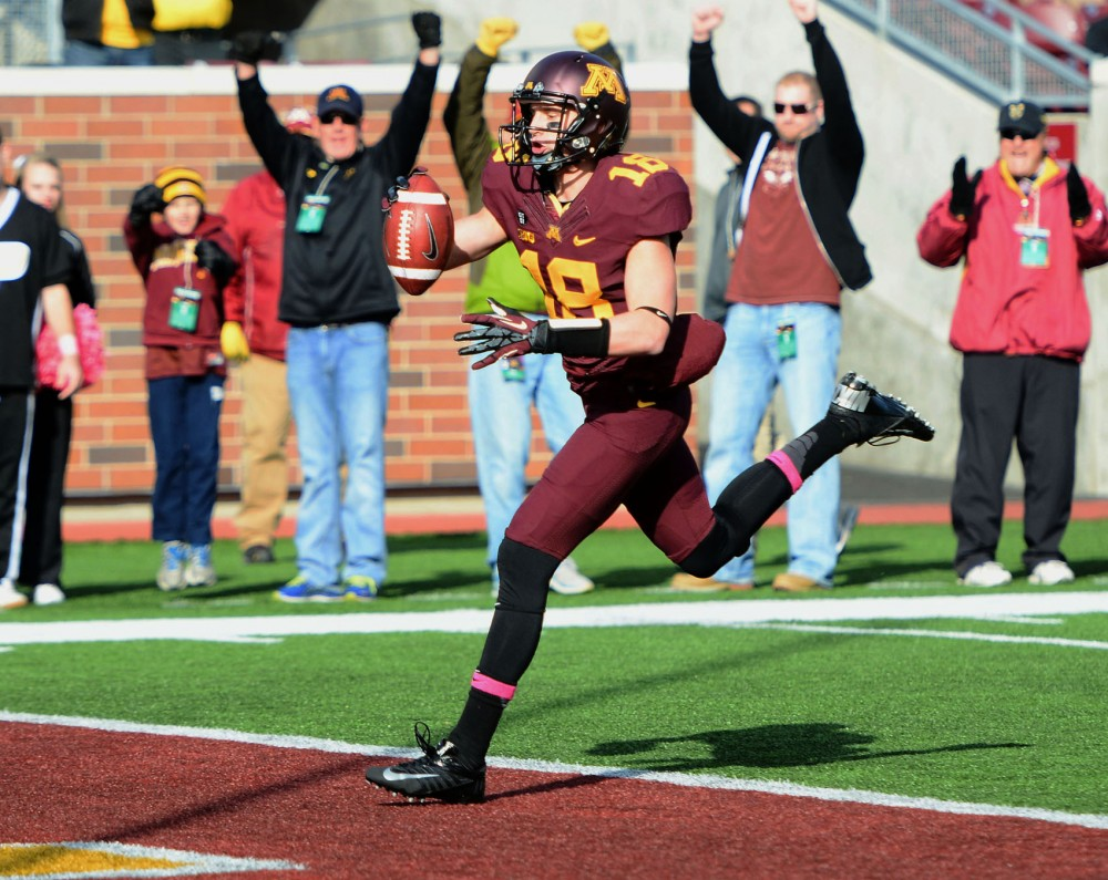 Minnesota wide receiver Derrick Engel scores a touchdown against Purdue on Oct. 27 at TCF Bank Stadium.
