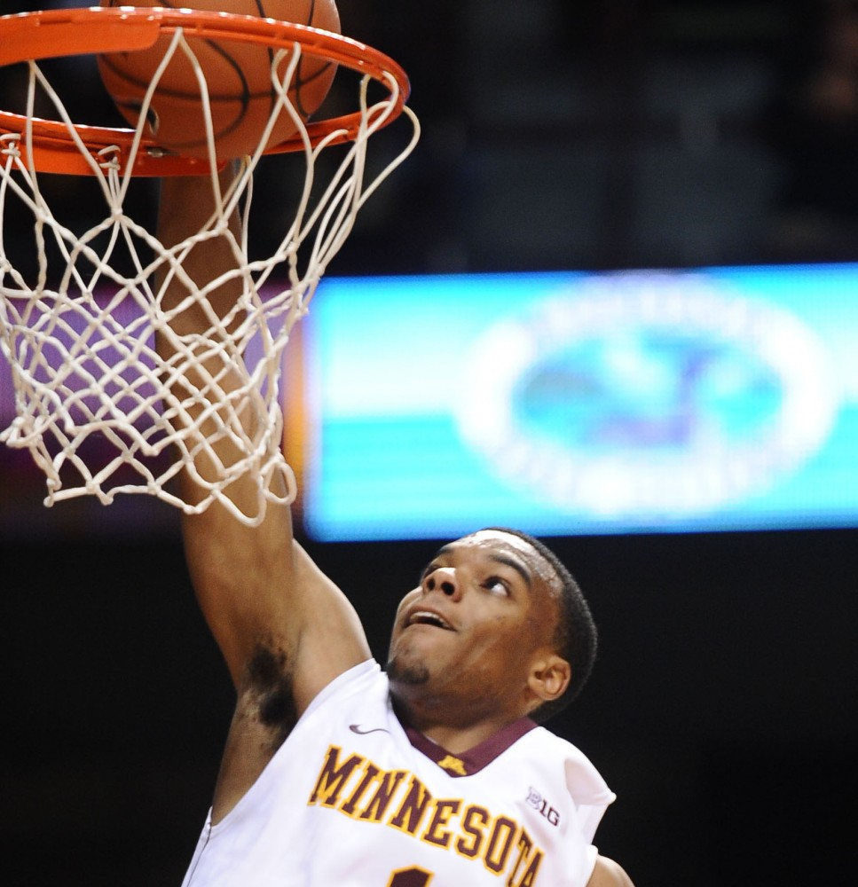 Minnesota guard Andre Hollins makes a basket during a game against Minnesota State on Thursday, Nov. 1, 2012, at Williams Arena.