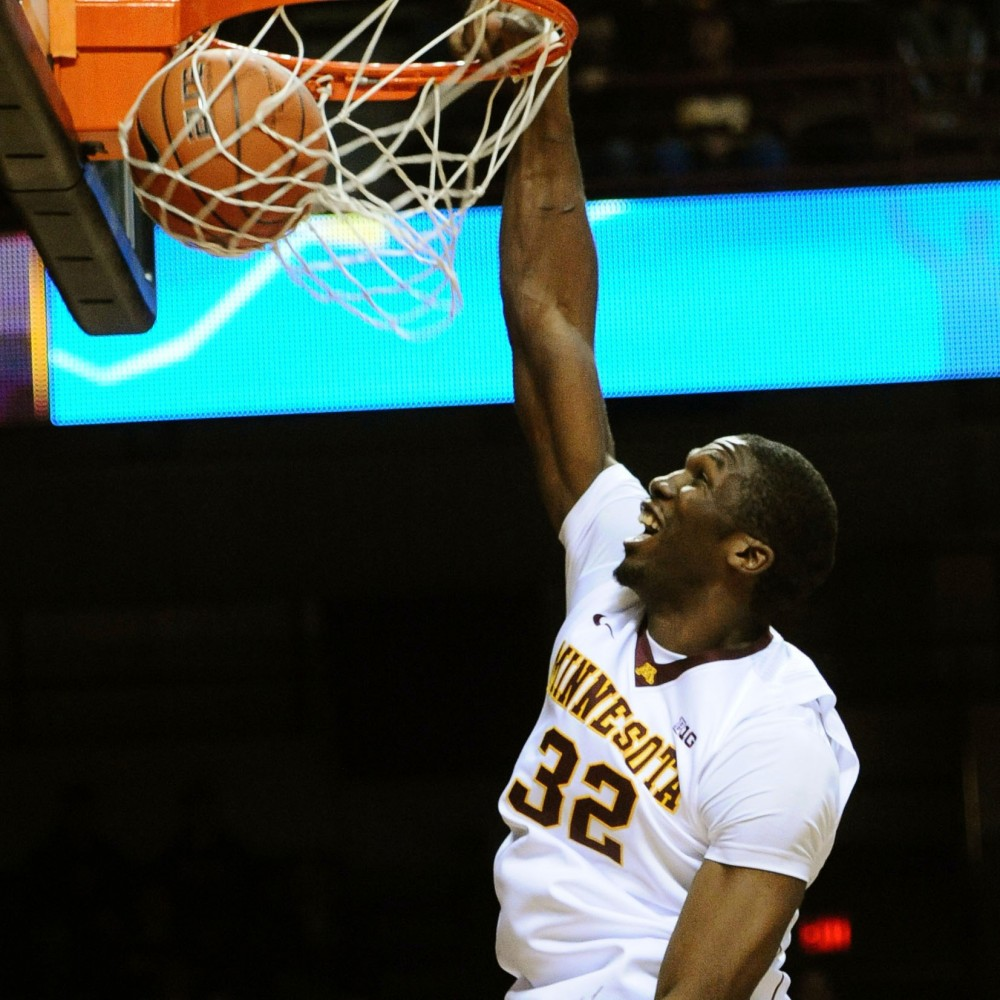 Minnesota forward Trevor Mbakwe scores against Southwest Baptist on Nov. 5 at Williams Arena.