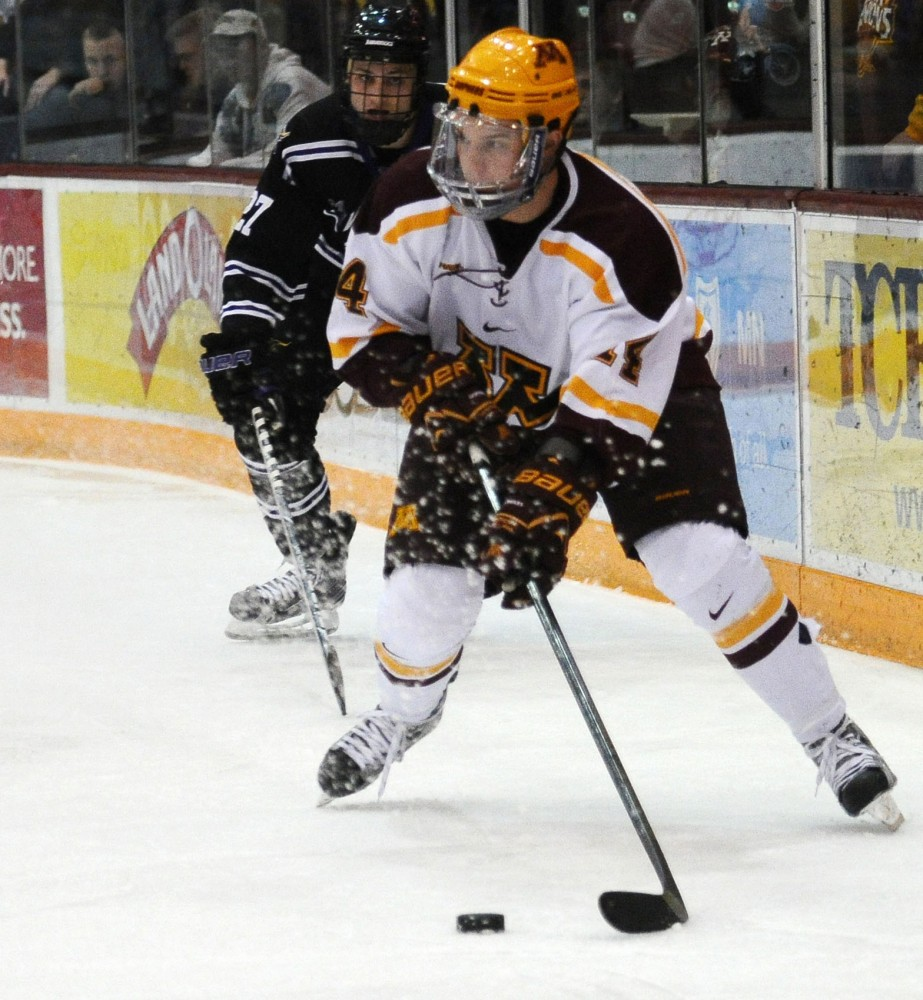 Minnesota forward Zach Budish plays against Minnesota State- Mankato on Friday at Mariucci Arena.