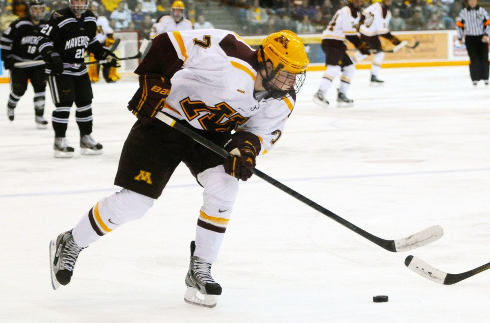 Sophomore forward Kyle Rau skates against Minnesota State on Nov. 2 at Mariucci Arena.