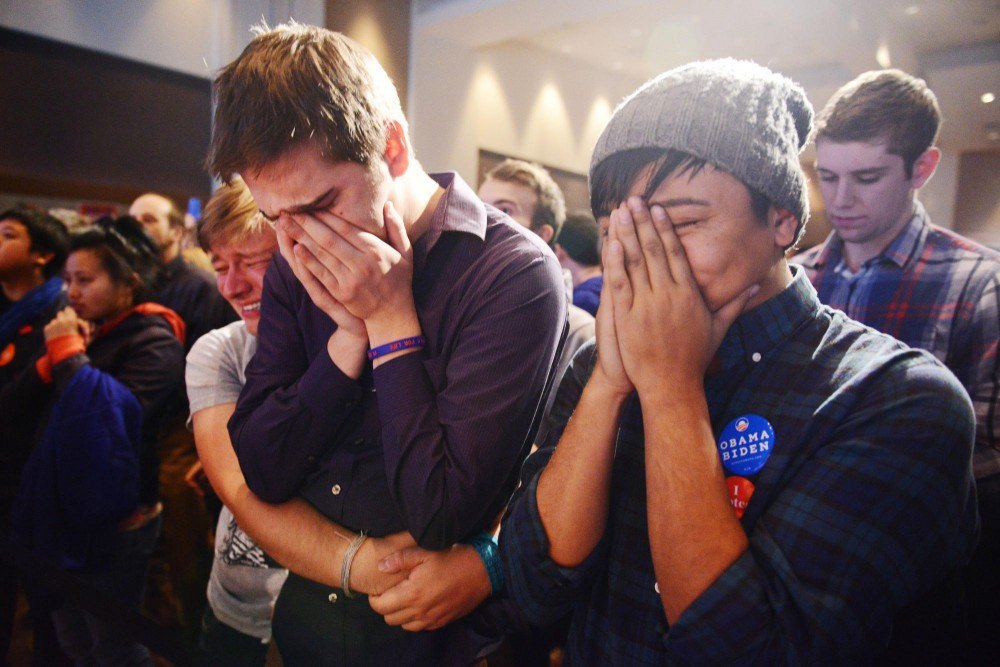 Alex Sand, and Nam Dorjee are full of emotions when it was announced that the marriage amendment did not pass at the Minnesota United election party in St. Paul Tuesday evening.