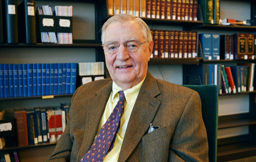 Former Vice President and University professor Walter F. Mondale on Tuesday in his office at Dorsey & Whitney LLP in Minneapolis. Mondale will be finishing his teaching position at the University at the end of the spring semester.