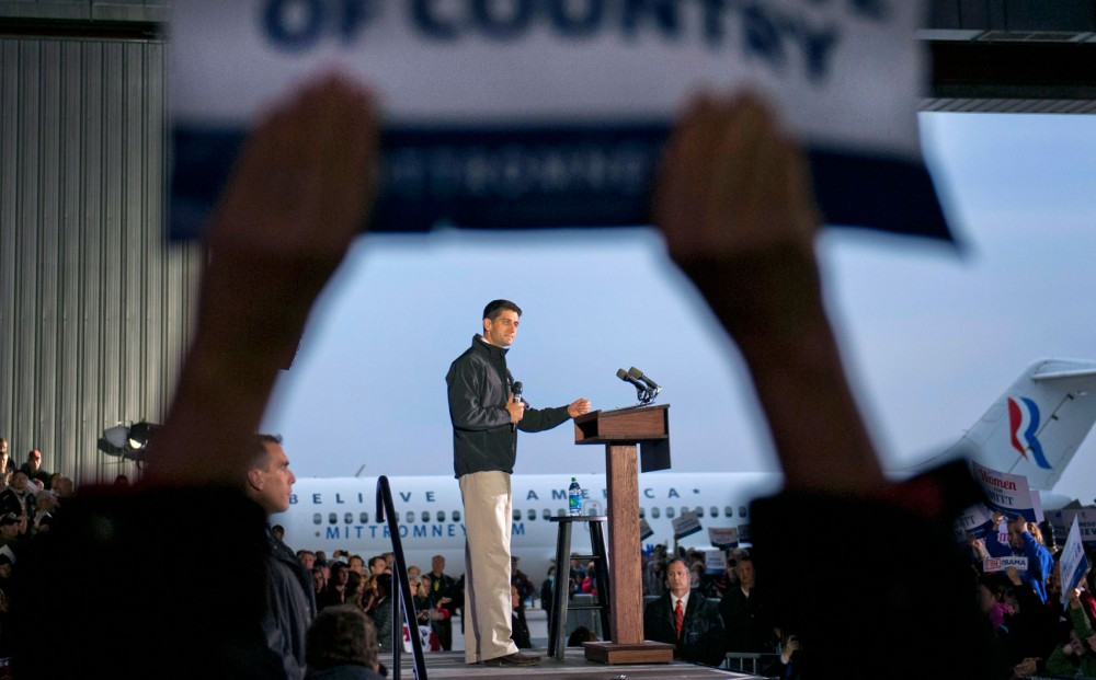 Vice presidential candidate Paul Ryan speaks at a rally Sunday, Nov. 4, 2012,  at the Sun Country Airlines hanger in Minneapolis.