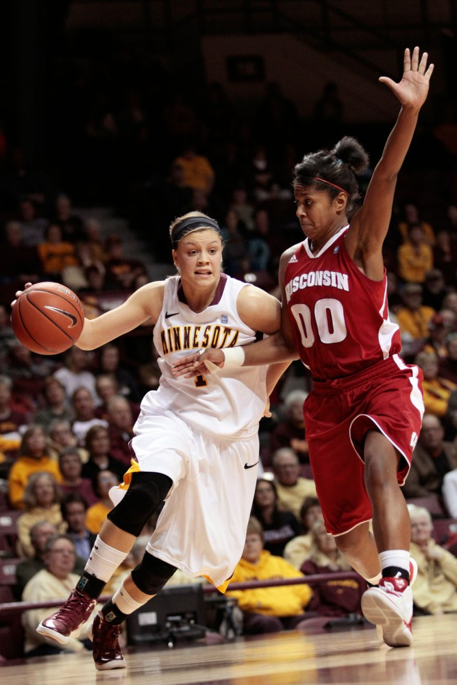 Minnesota guard Rachel Banham plays against Wisconsin on Jan. 26 at Williams Arena.