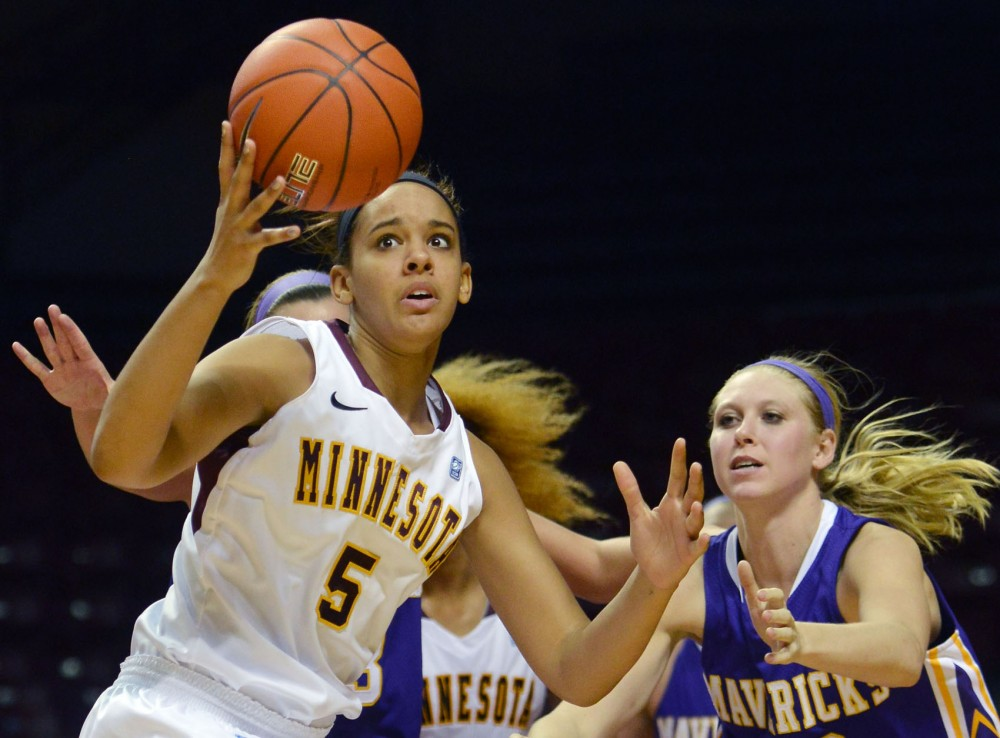 Minnesota guard Kionna Kellogg pulls away from Minnesota State during a game on Sunday, Nov. 4, 2012, at Williams Arena.