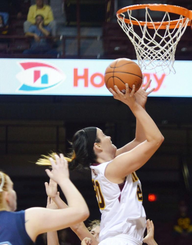 Minnesota guard/forward Kayla Hirt shoots a layup against Maine on Nov. 18 at Williams Arena.