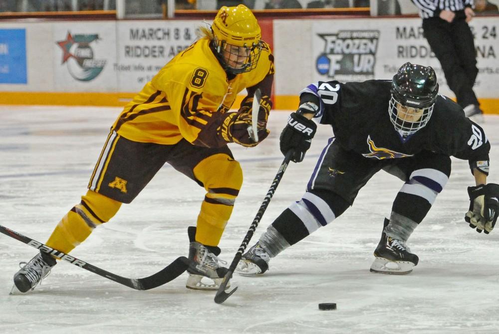 Minnesota forward Amanda Kessel plays against Minnesota State on Saturday, Nov. 17, 2012, at Ridder Arena.
