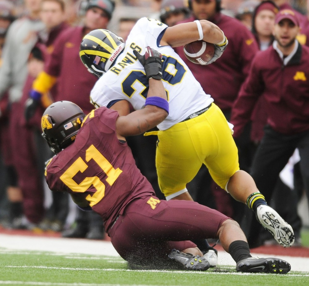 Minnesota linebacker Keanon Cooper wore No. 51 in honor of the late Gary Tinsley against Michigan on Nov. 3 at TCF Bank Stadium.