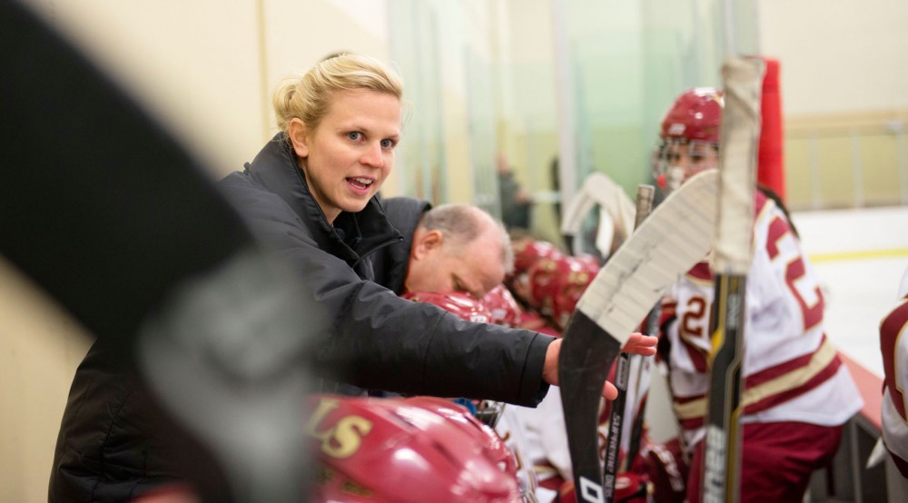 Former Gophers hockey star Natalie Darwitz instructs her Lakeville South High School players during a game against Burnsville High School on  Nov. 6 at Hasse Arena in Lakeville, Minn.