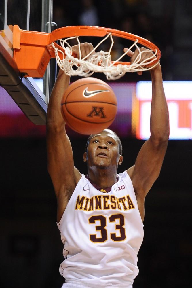 Minnesota forward Rodney Williams dunks against Minnesota State-Mankato on Nov. 1 at Williams Arena.