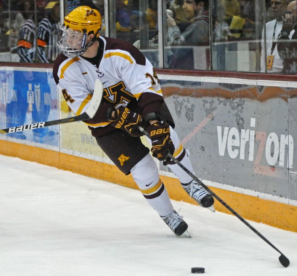 Minnesota forward Tom Serratore skates against Minnesota State-Mankato on Nov. 2 at Mariucci Arena.
