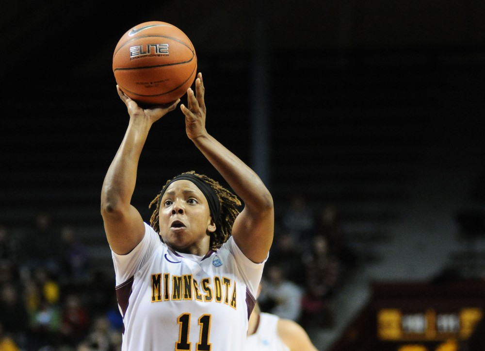 Minnesota guard Leah Cotton shoots a free throw against Robert Morris on Sunday at Williams Arena.