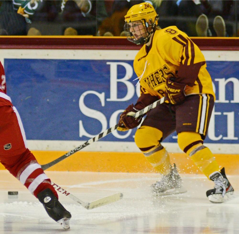 Minnesota forward Amanda Kessel skates against Wisconsin on Sunday at Ridder Arena.