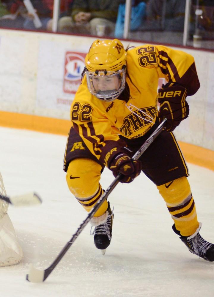 Minnesota forward Hannah Brandt plays against Wisconsin on Sunday at Ridder Arena.