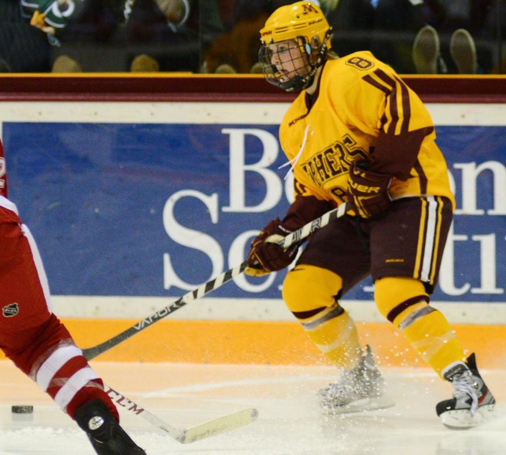 Minnesota forward Amanda Kessel skates against Wisconsin on Dec. 2 at Ridder Arena.