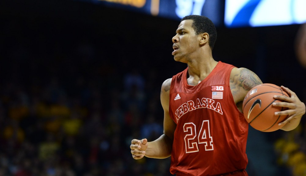 Nebraska guard Dylan Talley searches for a teammate to pass to against Minnesota on Jan. 29, 2013 at Williams Arena.
