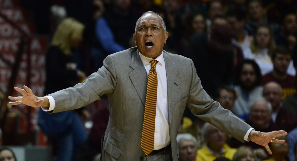 Minnesota head coach Tubby Smith yells out to his players on the court at the game against Nebraska on Jan. 29, 2013 at Williams Arena.