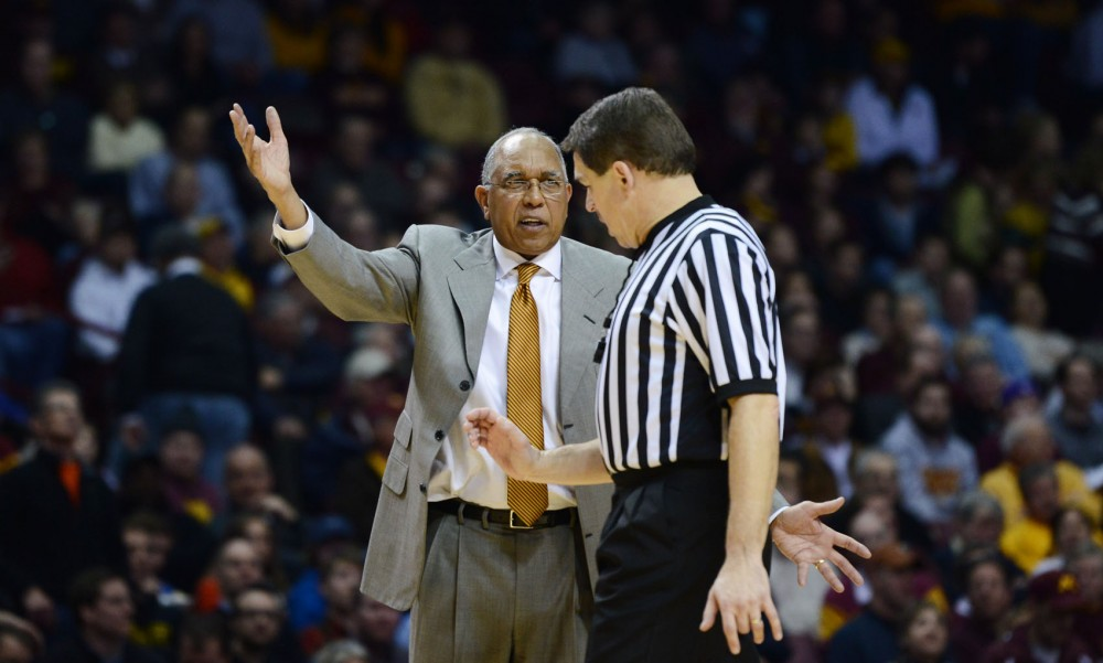 Minnesota head coach Tubby Smith talks to the referee at the game against Nebraska on Jan. 29, 2013 at Williams Arena.