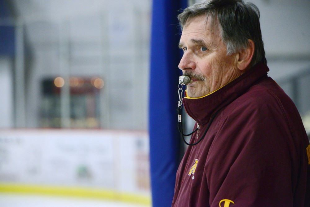Albert Lea High School head coach and former Gopher hockey player Roy Nystrom coaches his team during practice on Wednesday, Jan. 16, 2013, in Albert Lea, Minn. After playing for the Gophers, Nystrom began coaching the Albert Lea boys hockey team in 1973 and has earned more than 600 wins over his career.