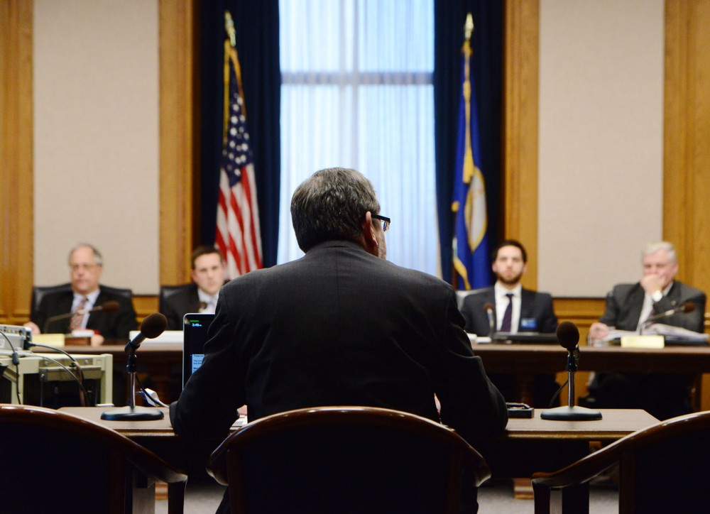 University President Eric Kaler testifies before the House Committee on Higher Education and Workforce Development about the University's administrative spending on Jan. 15, 2013 . Kaler denied assertions that administrative costs have become excessive after a recent Wall Street Journal article made allegations against the University of Minnesota's spending habits.