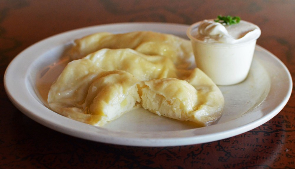 Potato Varenyky with a side of horseradish sour cream from Kramarczuk's in Northeast Minneapolis.