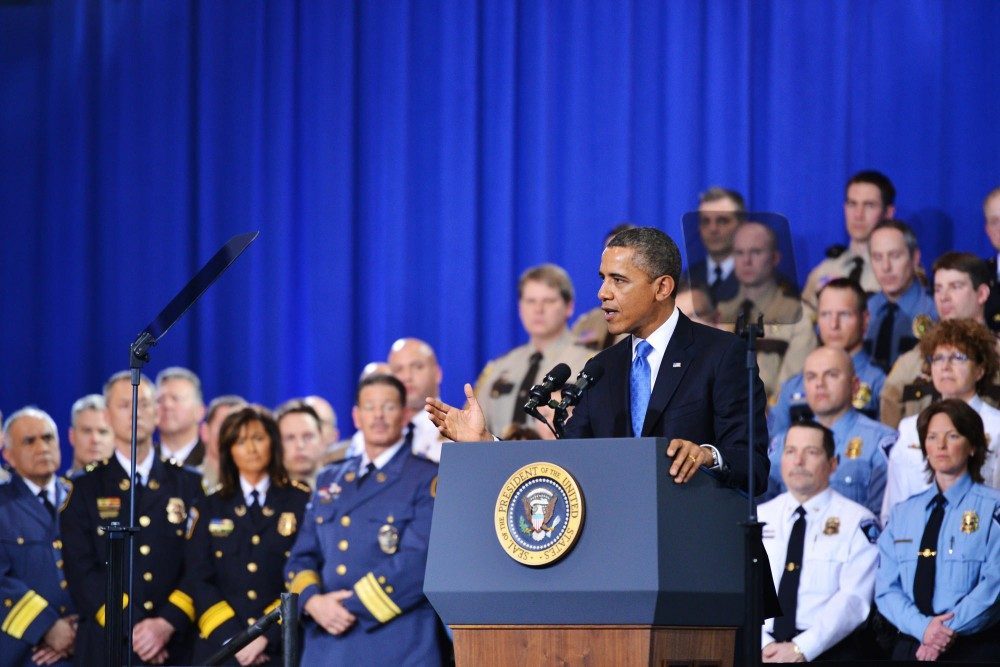 President Barack Obama speaks for more gun control on Feb. 4, 2013 at the Minneapolis Police Department Special Operations Center.