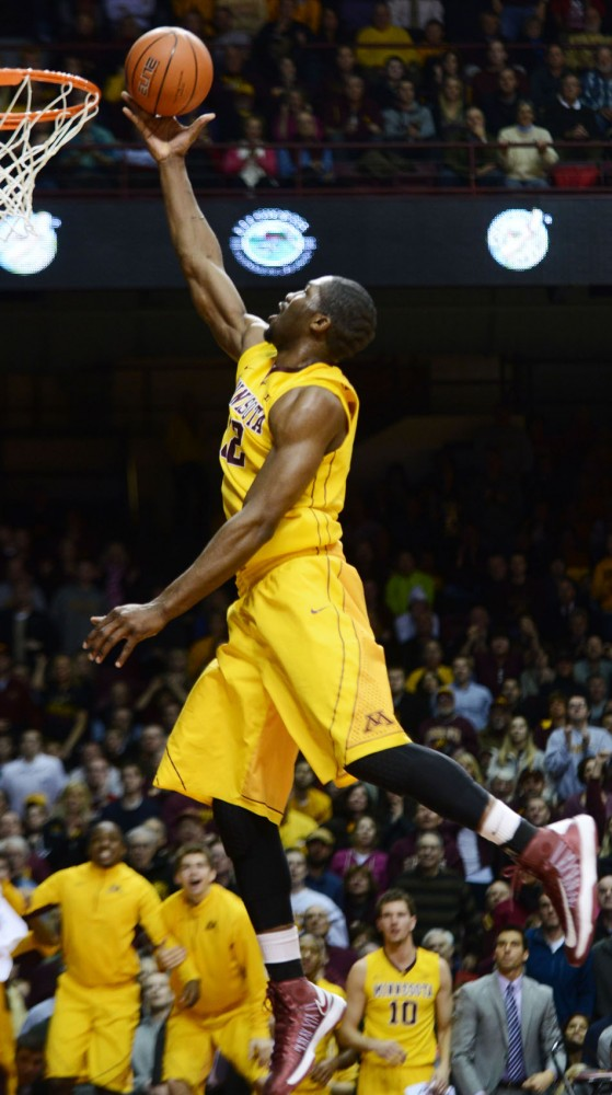 Minnesota forward Trevor Mbakwe goes up for a layup against Wisconsin on Thursday, Feb. 14, 2013, at Williams Arena.