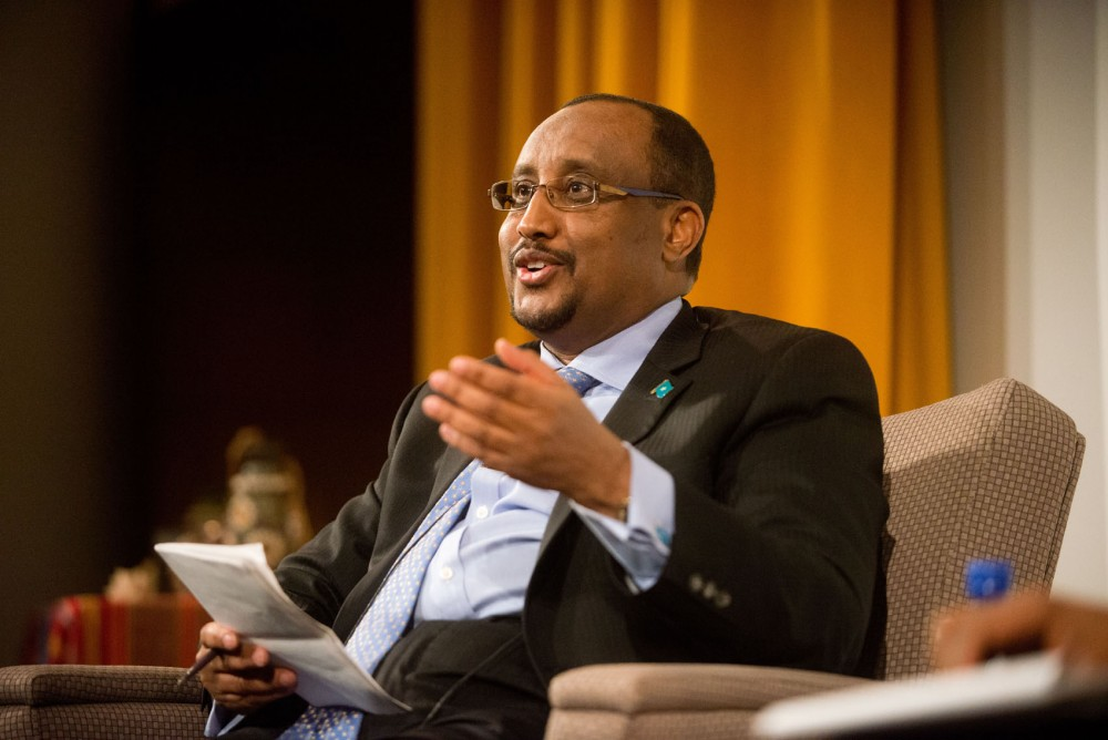 Former Prime Minister of Somalia Abdiweli Mohamed Ali responds to questions about freedom and protection of journalists in Somalia on Friday, Feb. 8, 2013, at the Humphrey School of Public Affairs.