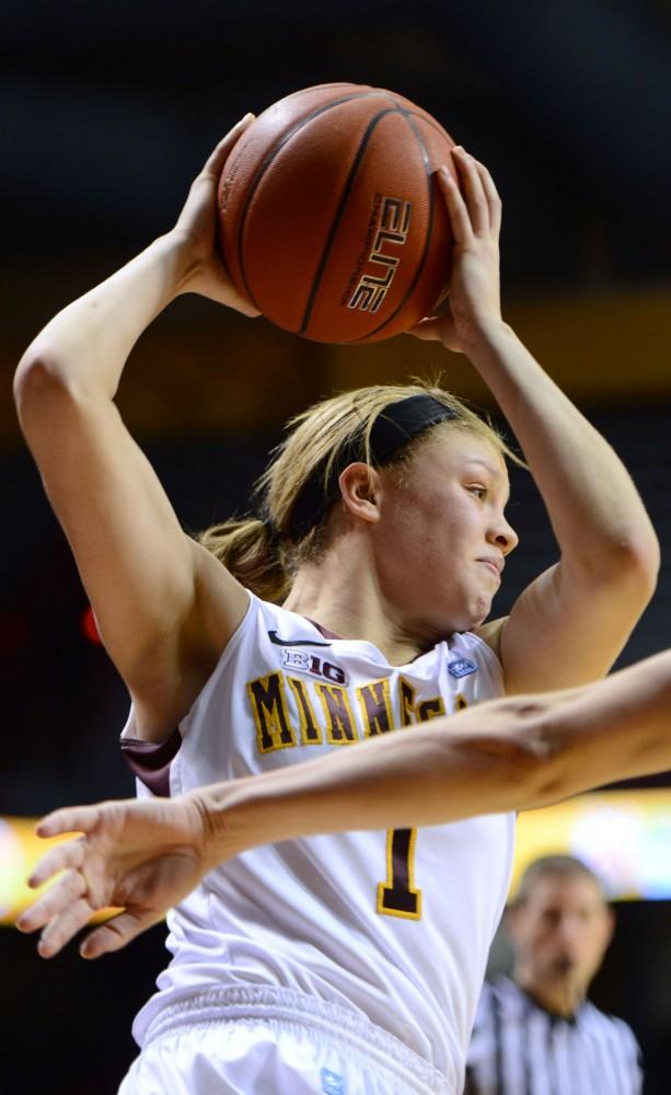 Minnesota guard Rachel Banham looks to pass against Purdue on Sunday, Feb. 24, 2013, at Williams Arena.