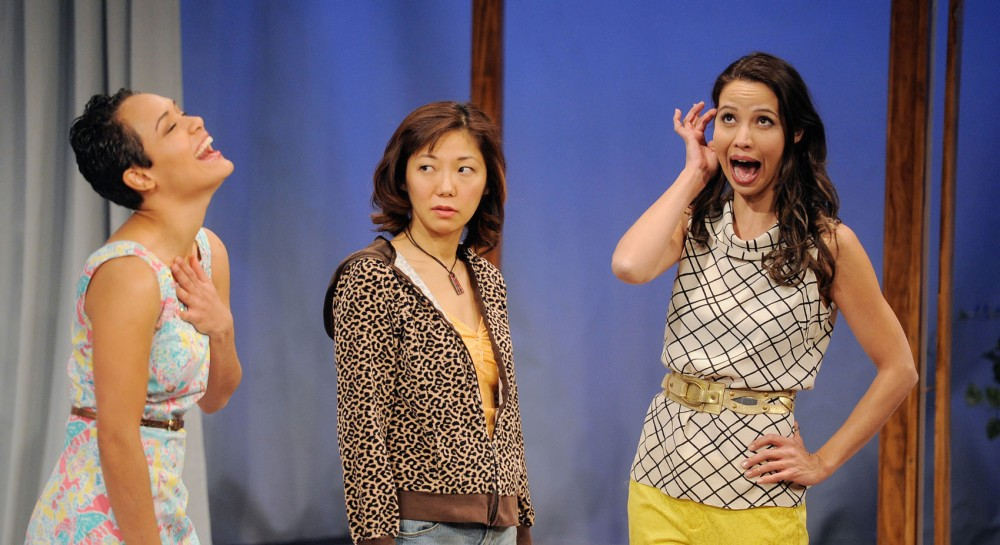 Grace Gealey, left, Sun Mee Chomet, center, and Laurine Price rehearse a scene from Elemeno Pea on Sunday, Feb. 17, 2013, at Mixed Blood Theatre in Minneapolis.