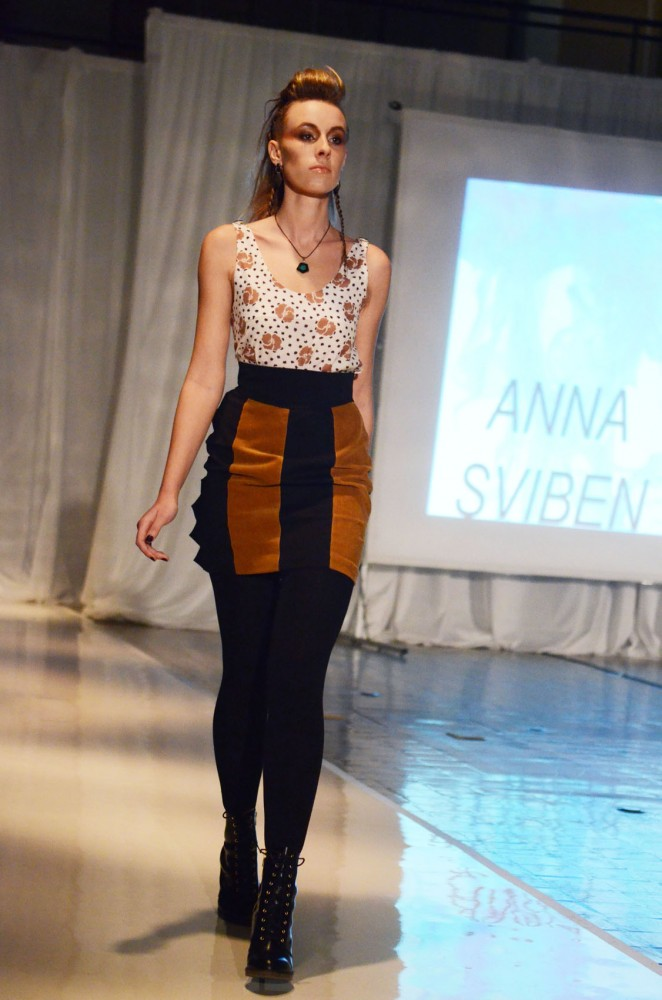 Model Lindsey Kuehl displays one of Anna Louise Sviben's designs at FLUX, the College of Design's 45th annual apparel design senior fashion show, Saturday, Feb. 16, 2013, in Rapson Hall.