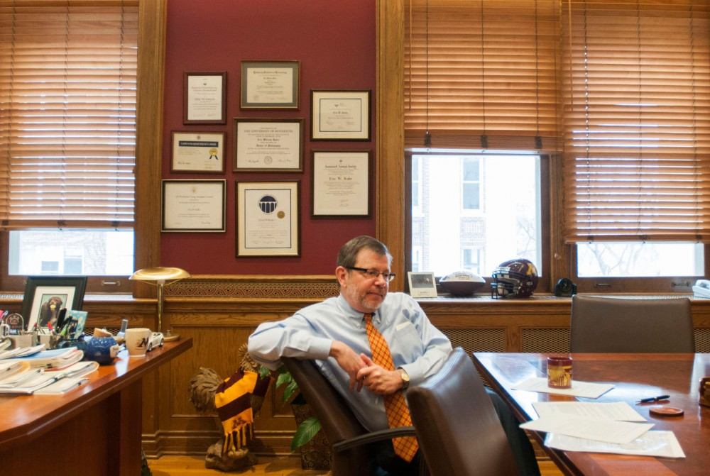 University President Eric Kaler in his Morrill Hall office Tuesday, Feb. 26, 2013. Kaler will deliver his second State of the University address Thursday.